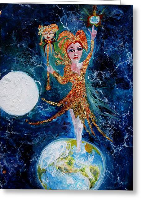 Cosmic  Fool Greeting Card by Mary Sonya  Conti