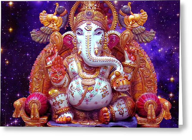 Greeting Card Featuring The Digital Art Cosmic Ganesh By Svahha Devi