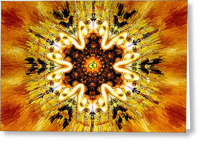 Cosmic Meeting Om Greeting Card by Richard Copeland