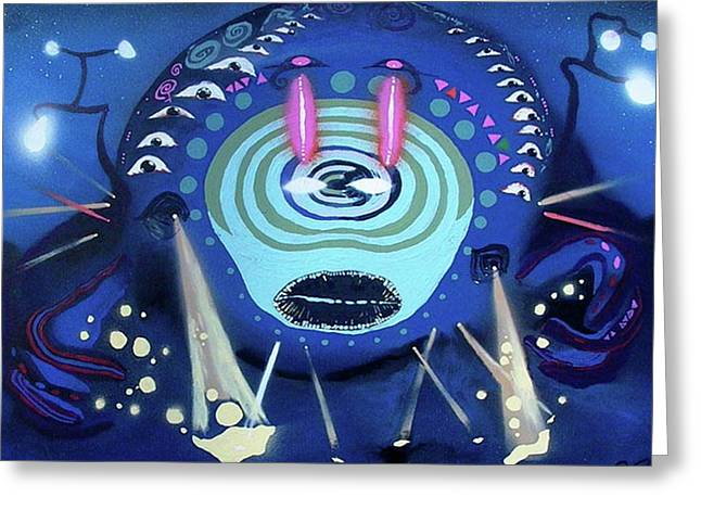 Cosmic Psychedelic Electro Greeting Card by Rafael Duncan