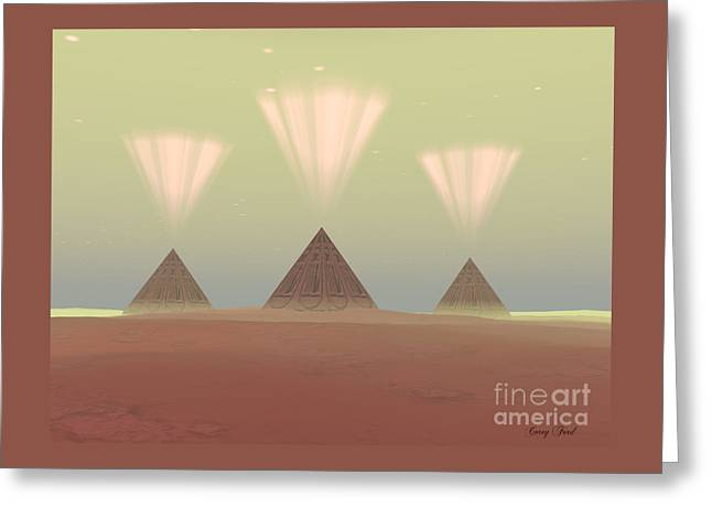 Cosmic Pyramids Greeting Card by Corey Ford