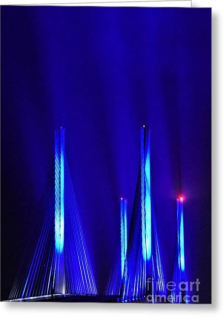 Blue Light Rays - Indian River Inlet Bridge Greeting Card