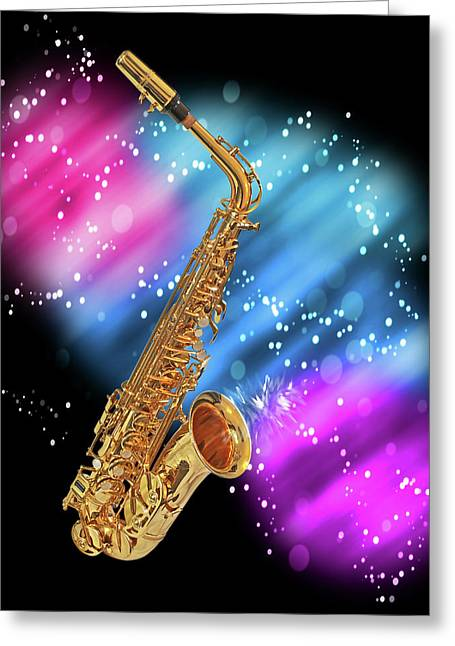 Cosmic Sax Greeting Card