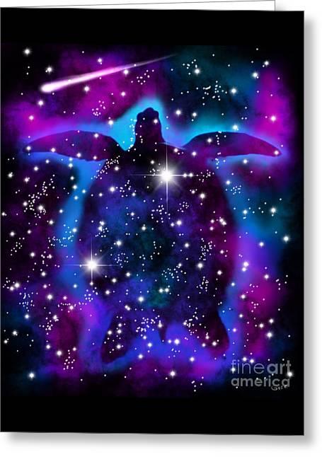 Cosmic Sea Turtle Greeting Card by Nick Gustafson