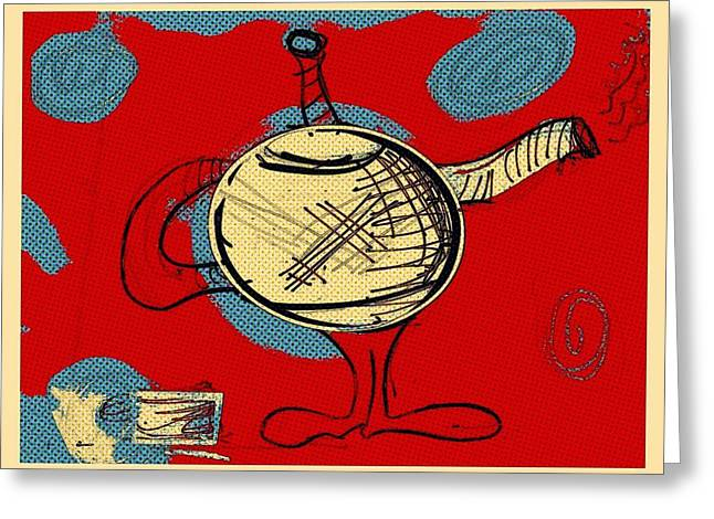 Cosmic Tea Time Greeting Card by Jason Nicholas