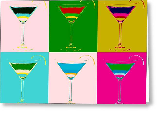 Cosmopolitan Pop Art Panels Greeting Card by Dan Sproul