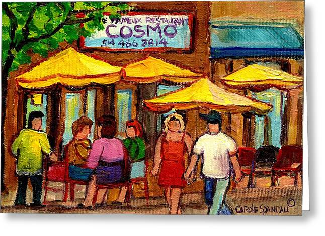 Lubavitcher Greeting Cards - Cosmos  Fameux Restaurant On Sherbrooke Greeting Card by Carole Spandau