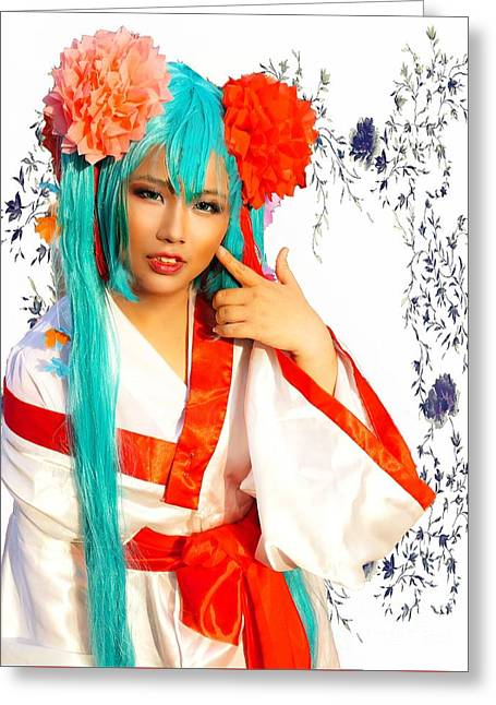 Cosplay And Flowers Greeting Card