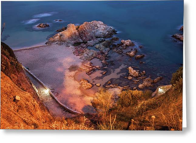 Costa Brava Beach And Sea Shore At Night Greeting Card by Artur Bogacki