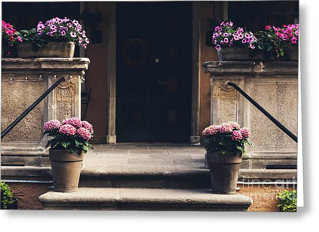 Cosy Entrance To An Old Tenement Building In Gdansk, Poland. Greeting Card