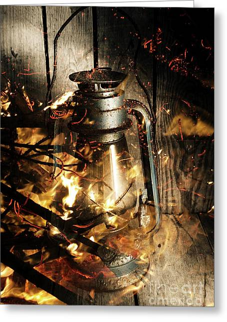 Cosy Open Fire. Cottage Artwork Greeting Card