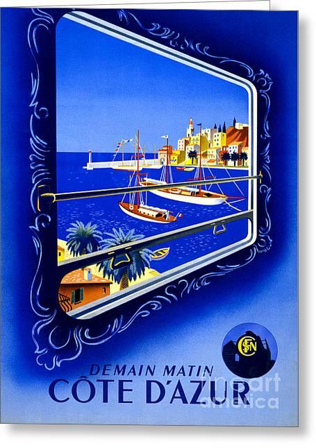 Cote D'azur Vintage Poster Restored Greeting Card