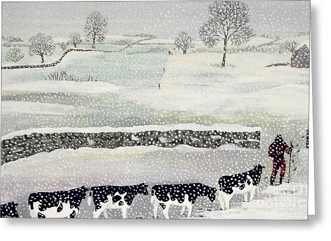 Moo Moo Greeting Cards - Cotswold - Winter Scene Greeting Card by Maggie Rowe