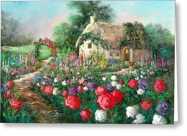 Cotswold Rose Garden Greeting Card by Sally Seago