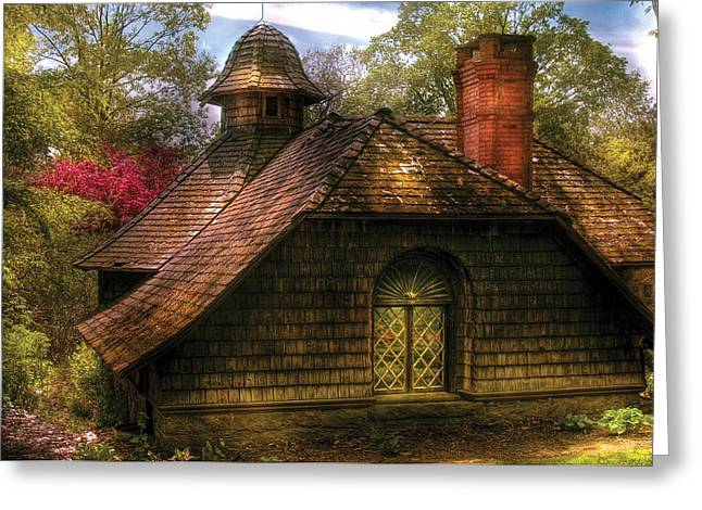 Cottage - Sweet Old Lady House Greeting Card by Mike Savad