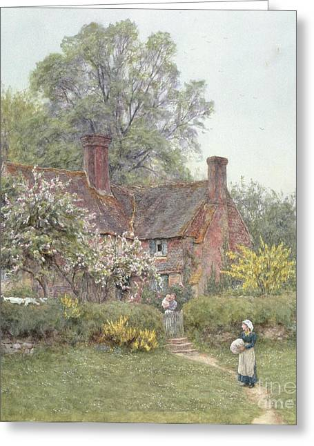 Country House Greeting Cards - Cottage at Chiddingfold Greeting Card by Helen Allingham