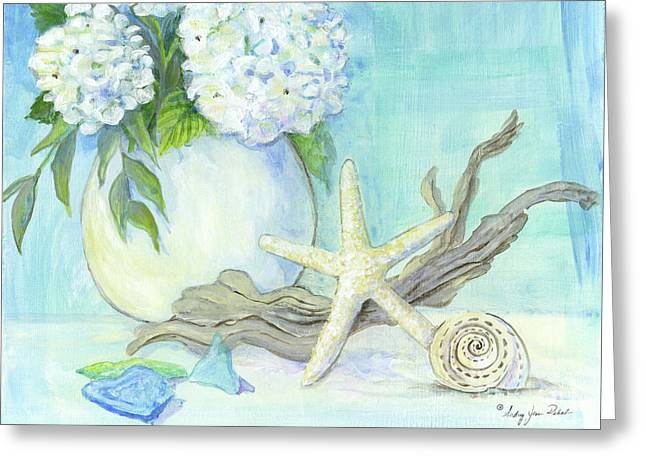 Cottage At The Shore 1 White Hydrangea Bouquet W Driftwood Starfish Sea Glass And Seashell Greeting Card