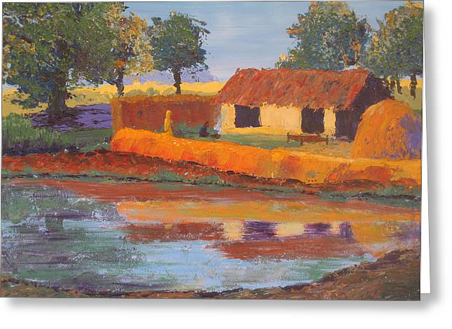 Cottage By The Pond Greeting Card by Art Nomad Sandra  Hansen