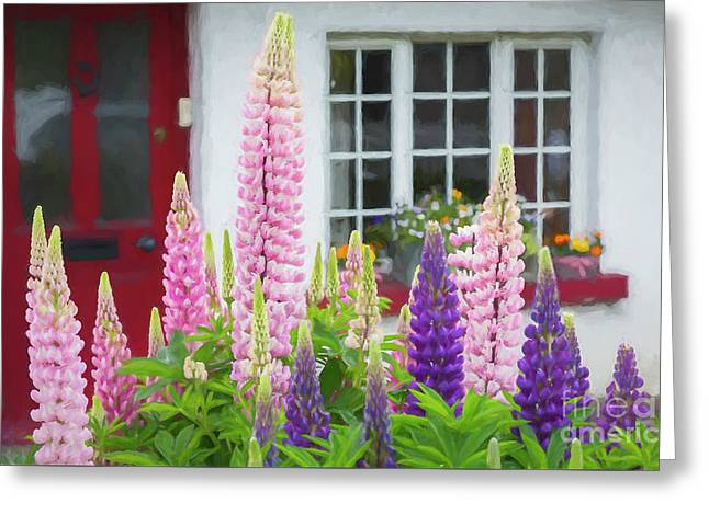Greeting Card featuring the photograph Cottage Garden And Lupines by Brenda Tharp