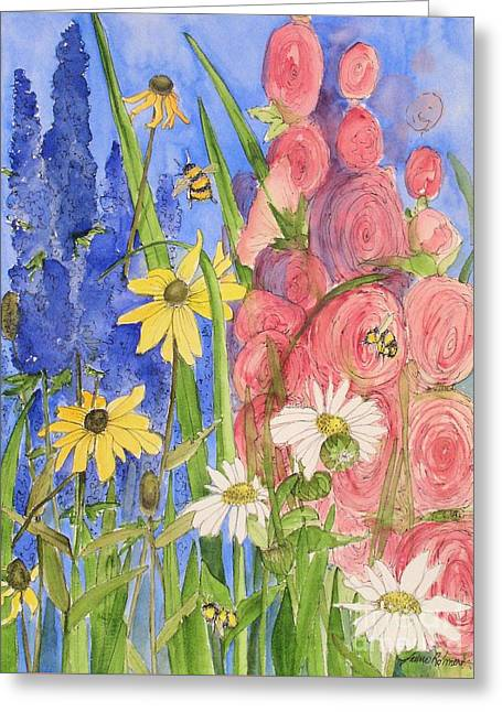Cottage Garden Daisies And Blue Skies Greeting Card