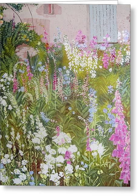 Cottage Garden Greeting Card by Frances Lowe
