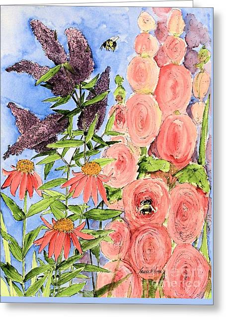 Cottage Garden Hollyhock Bees Blue Skie Greeting Card
