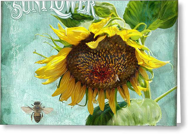 Cottage Garden - Sunflower Standing Tall Greeting Card by Audrey Jeanne Roberts