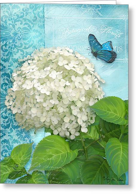 Cottage Garden White Hydrangea With Blue Butterfly Greeting Card