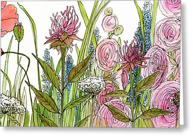 Cottage Hollyhock Garden Greeting Card
