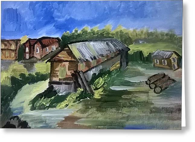 Cottage In A Village Greeting Card by Miss Ratul Banerjee