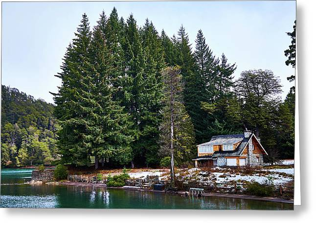 Little Cottage And Pines In The Argentine Patagonia Greeting Card
