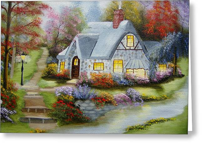Cottage In Fall Greeting Card