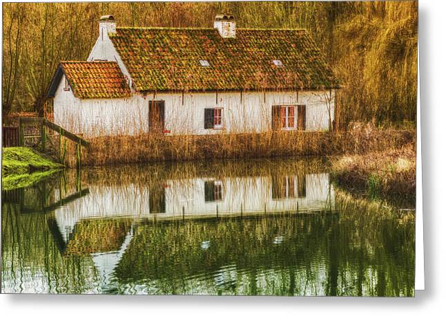 Cottage Reflection Greeting Card by Wim Lanclus