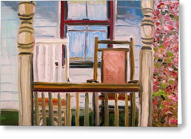 Clapboard House Paintings Greeting Cards - Cottage Rockers Greeting Card by John  Williams