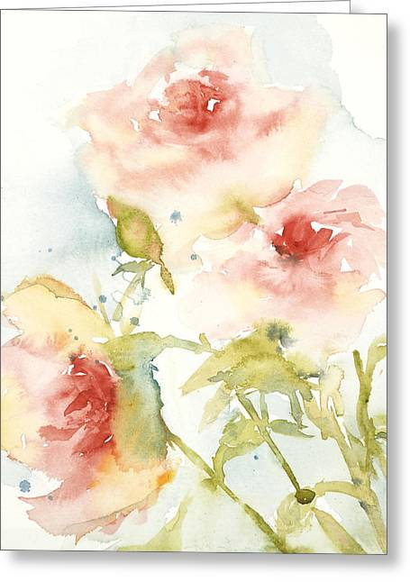 Greeting Card featuring the painting Cottage Roses by Sandra Strohschein