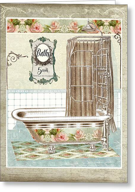 Cottage Roses - Victorian Claw Foot Tub Bathroom Art Greeting Card
