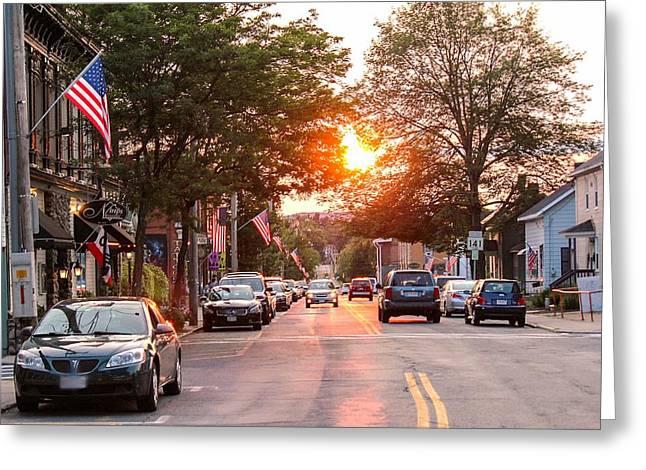 Cottage Street Summer Sunset Greeting Card