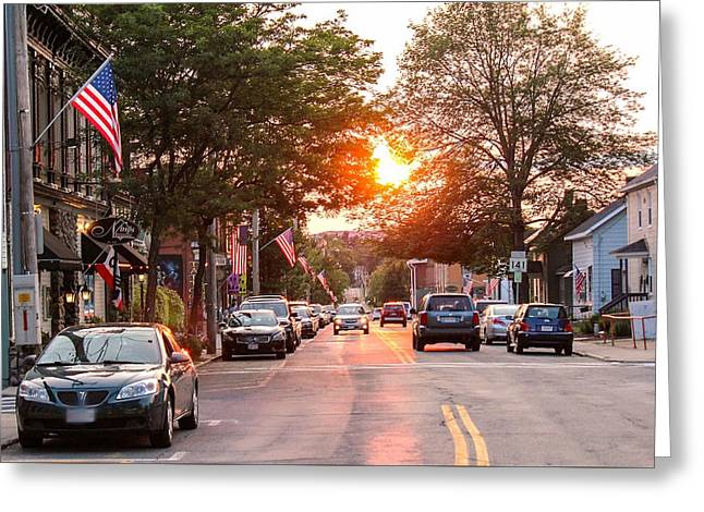 Cottage Street Summer Sunset Greeting Card