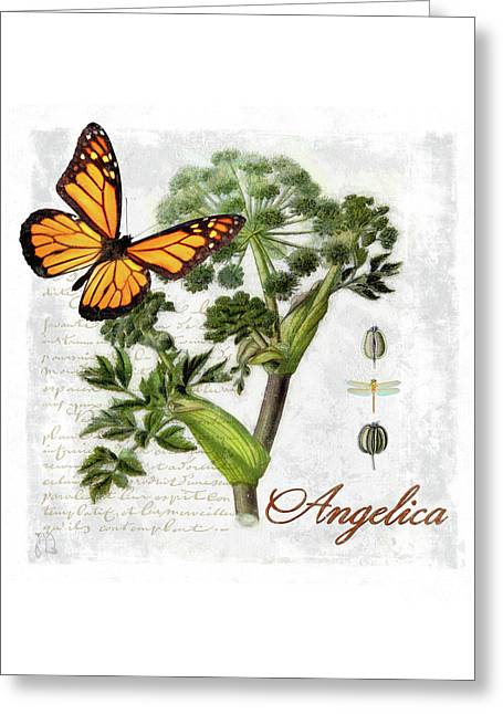 Cottage Style Angelica Herb Butterfly Botanical Illustration Greeting Card by Tina Lavoie