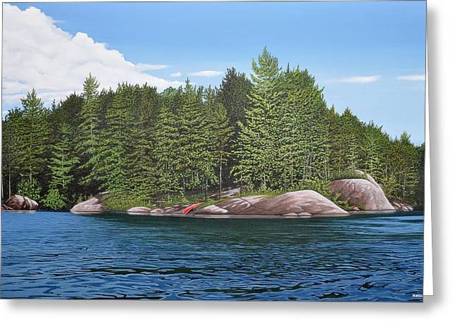 Greeting Card featuring the painting Cottage View Silver Lake by Kenneth M Kirsch
