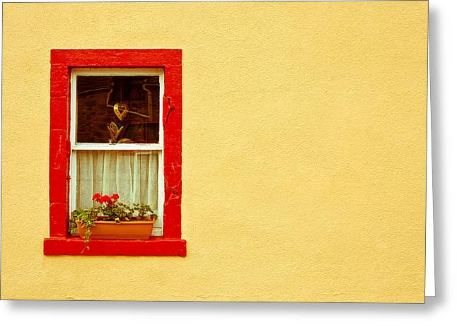 Glass Wall Greeting Cards - Cottage window Greeting Card by Tom Gowanlock