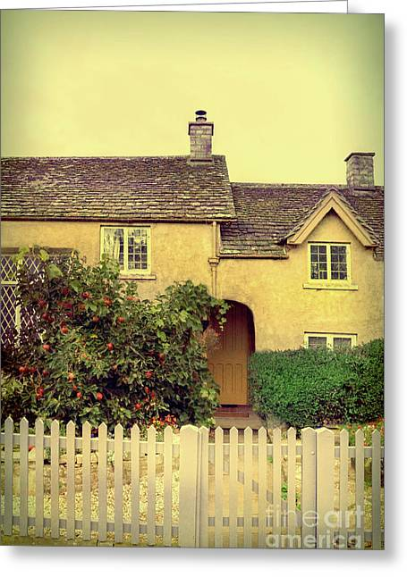 Cottage With A Picket Fence Greeting Card by Jill Battaglia