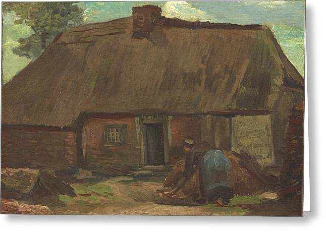 Cottage With Peasant Woman Digging 1885 Greeting Card