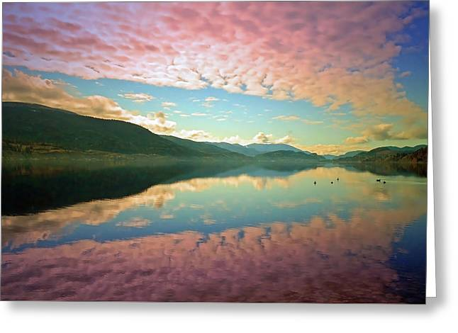 Greeting Card featuring the photograph Cotton Candy Clouds At Skaha Lake by Tara Turner