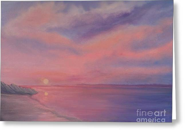 Greeting Card featuring the painting Cotton Candy Sky by Holly Martinson