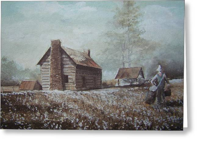 Cotton Farm Greeting Cards - Cotton Farming Greeting Card by Charles Roy Smith