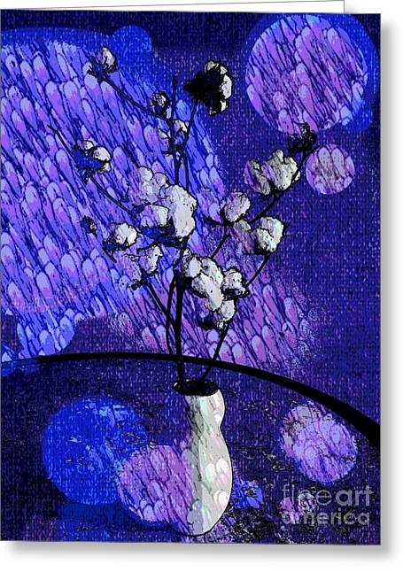 Cotton In The Blue Tone By Jasna Gopic Greeting Card by Jasna Gopic