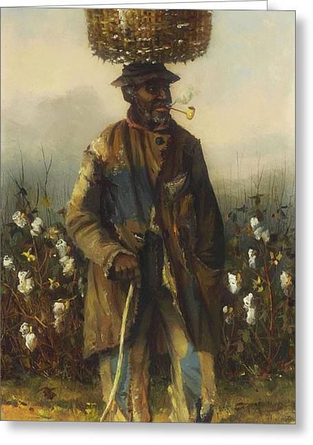Cotton Pickers - A Man Greeting Card by William Walker