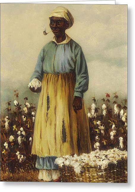 Cotton Pickers - A Woman Greeting Card by William Walker