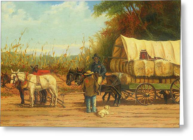 Cotton Wagon Greeting Card by William Walker